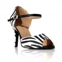 """Chaussure de danse Label Latin""""Jungle"""" noir et blanc"""