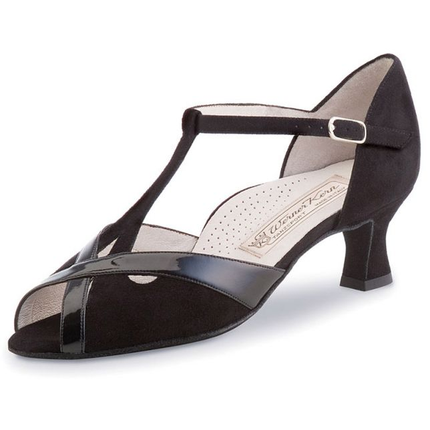 "Chaussures de danse Werner Kern ""Nadja"" 5 cm cuir noir vernis et daim noir"
