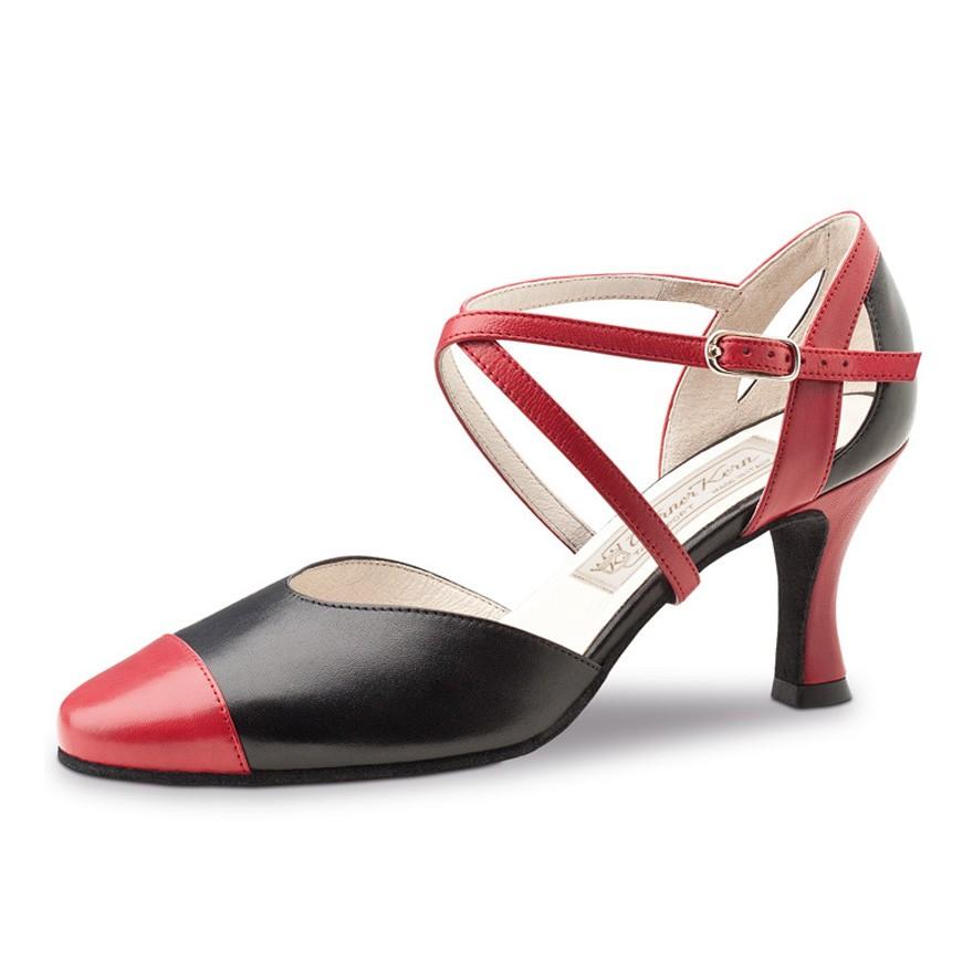"""Chaussures de danse Werner Kern """"Brooke"""" 6,5 cm cuir rouge et noir"""