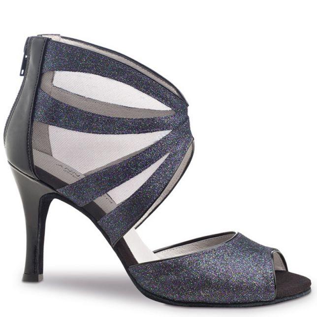 """Chaussures de danse Anna Kern """"Zara""""7,5 cm broca bleu glitter"""