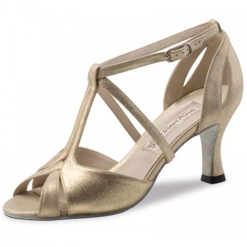 """Chaussures de danse Werner Kern """"Amy"""" 6,5 cm pour pieds étroits cuir or"""