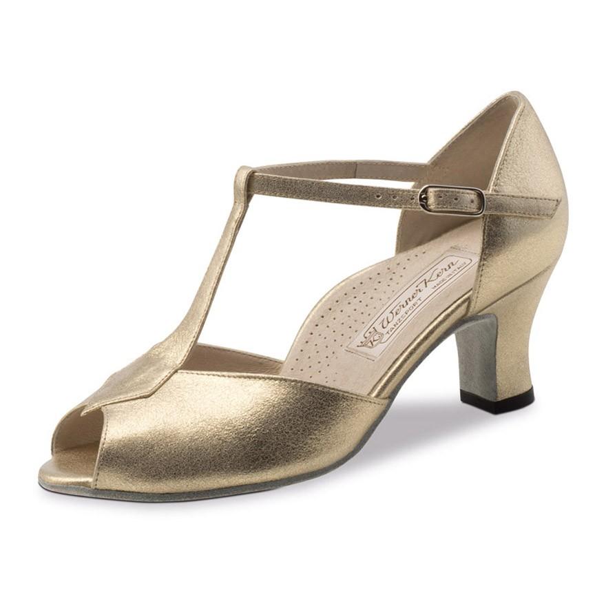"""Chaussures de danse Werner Kern """"Paulette"""" 6 cm cuir or"""
