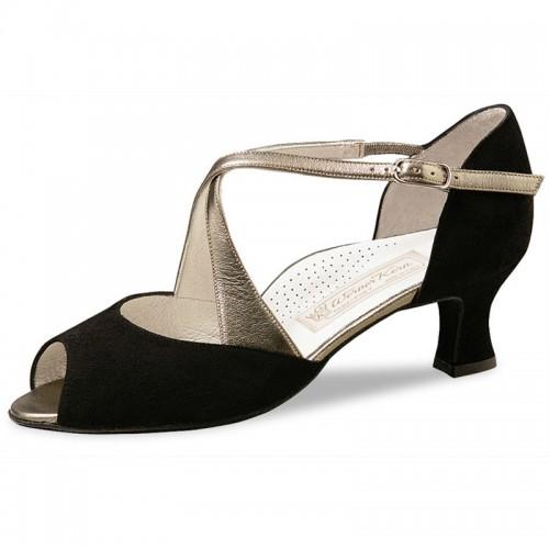 """Chaussures de danse Werner Kern """"Gaby"""" 5 cm daim noir et cuir or"""
