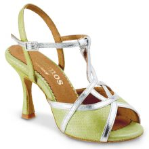 "Chaussures de danse Rummos ""Cuore"" cuir vert et argent"