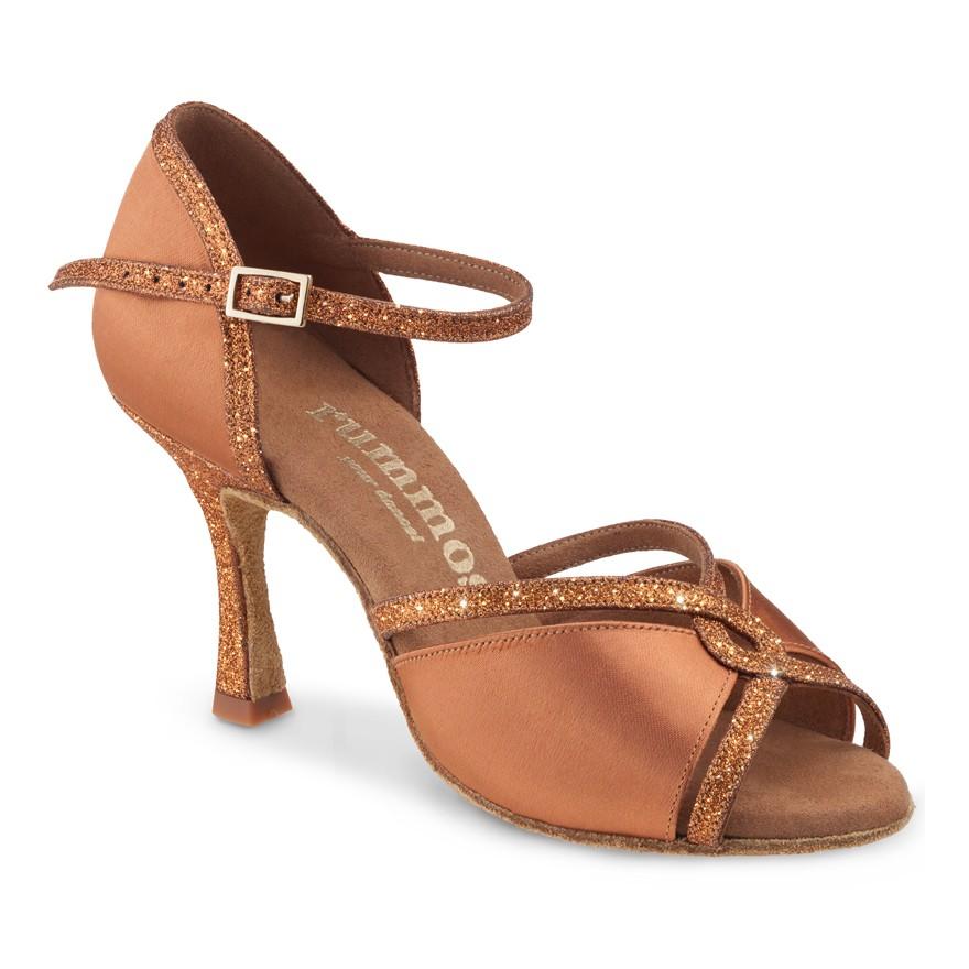 "Chaussures de danse Rummos ""Selma"" satin tan foncé et glitter"