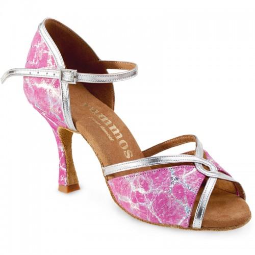 "Chaussures de danse Rummos ""Selma"" cuir rose et argent"