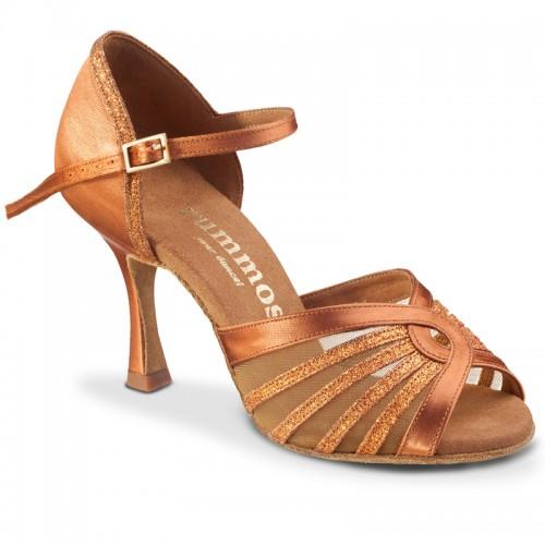 """Chaussures de danse Rummos """"Tatianna"""" satin tan et glitter"""