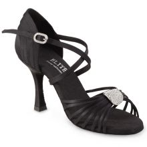 """Chaussures de danse professionnelle Elite Rummos """"Cristina"""" satinnoir et bijou strassé"""
