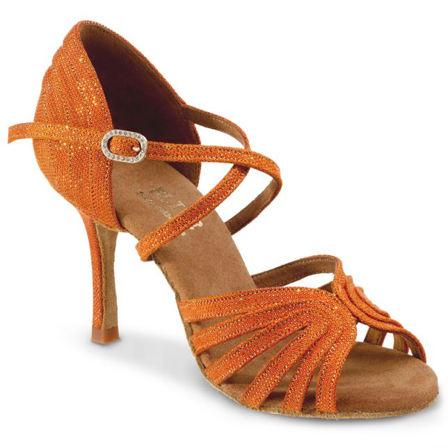 "Chaussures de danse professionnelle Elite Rummos ""Barbara"" cuir orange shinny"