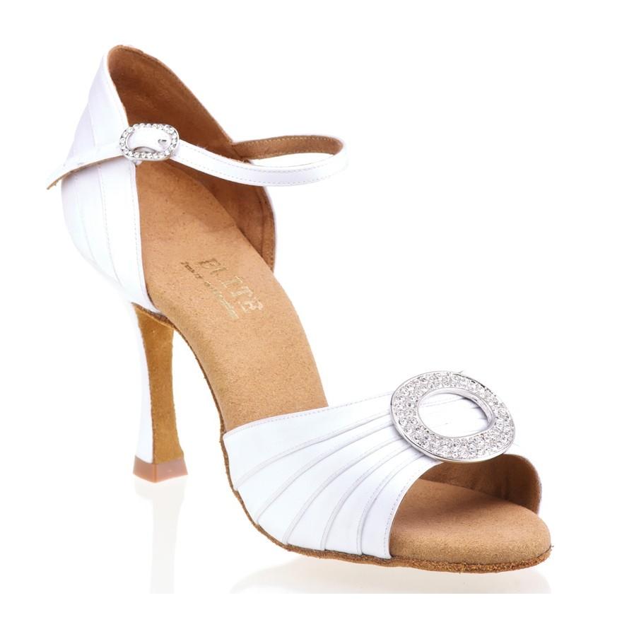 """Chaussures de danse professionnelle Elite Rummos """"Cassandra"""" satin blanc"""