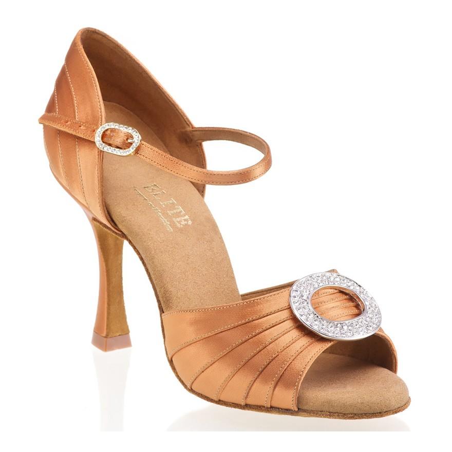 """Chaussures de danse professionnelle Elite Rummos """"Clméopatra"""" satin tan foncé"""