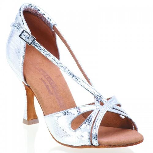 """Chaussures de danse Rummos """"Lana"""" cuir argent imitation serpent"""