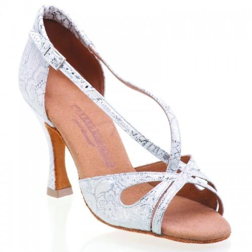 "Chaussures de danse Rummos ""Lana"" cuir blanc argent fleuri"