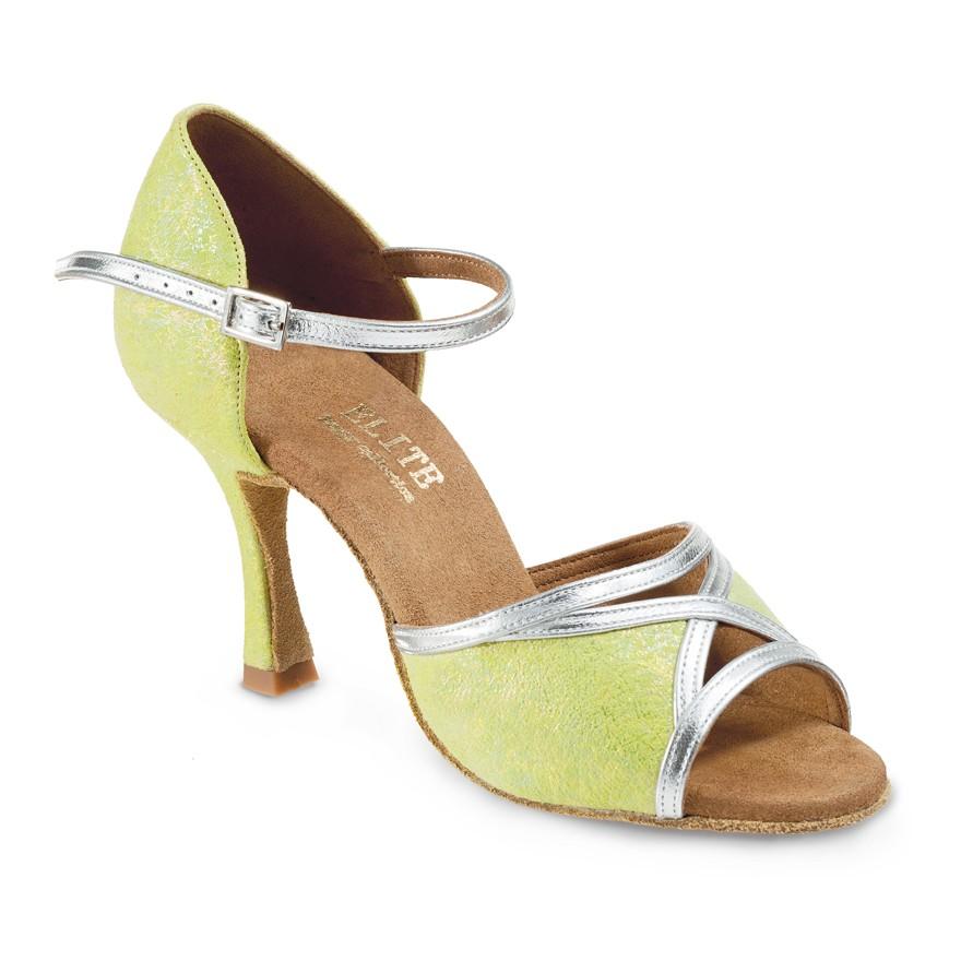 """Chaussures de danseElite Rummos """"CArmen"""" cuir vert et argent"""