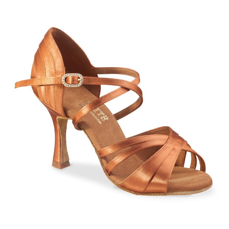 """Chaussures de danse professionnelle Eilte Rummos """"Athena"""" satin tan foncé"""
