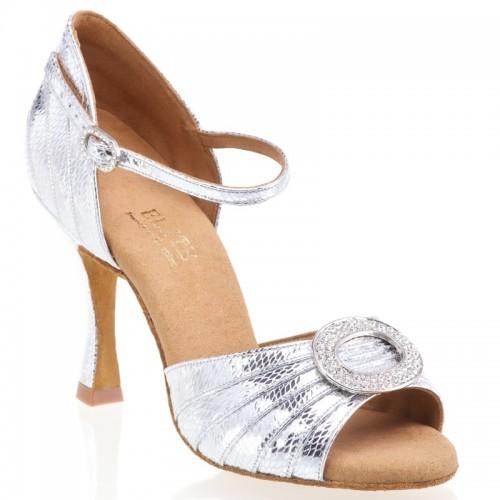 """Chaussures de danse professionnelle Elite Rummos """"Cléopatra"""" cuir argent imitation peau de serpent"""