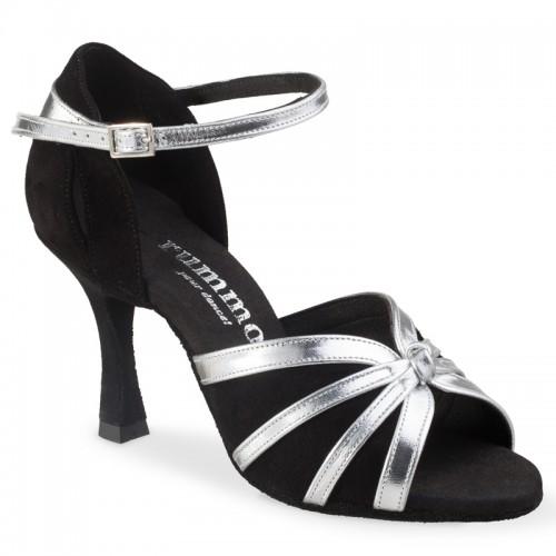 """Chaussures de danse Rummos """"Angela"""" daim noir et cuir argent"""