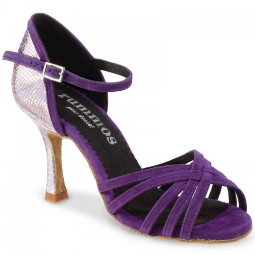 """Chaussures de danse Rummos """"Marylin""""daim violet et cuir argent"""