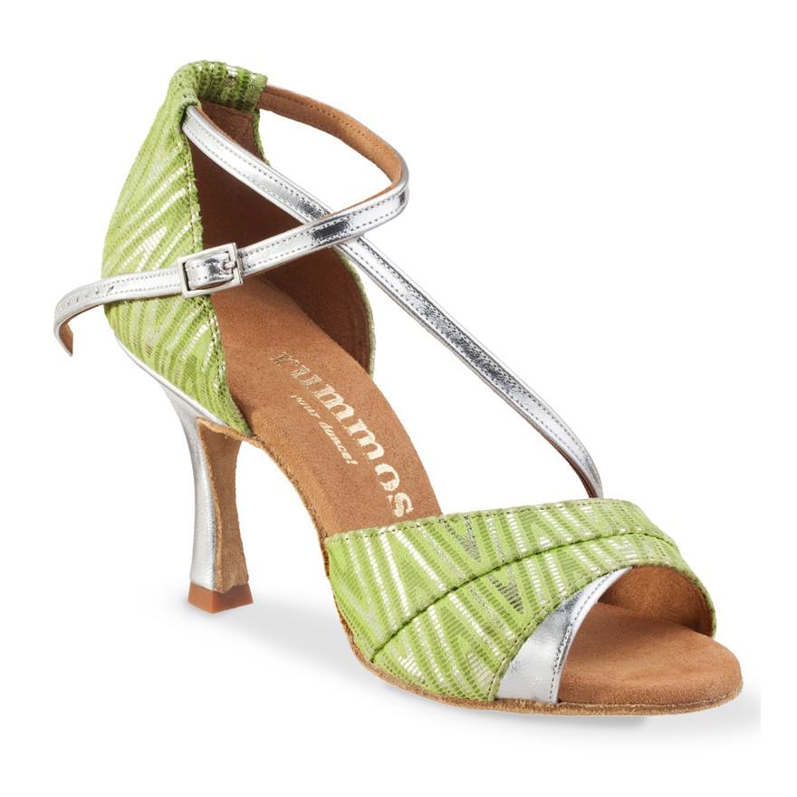 """Chaussures de danse Rummos """"Ania"""" cuir vert et argent"""