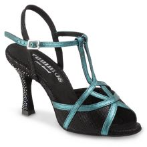 "Chaussures de danse Rummos ""Cuore"" cuir noir et bleu"