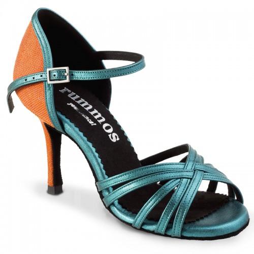 """Chaussures de danse Rummos """"Marylin"""" cuir bleu et orange"""