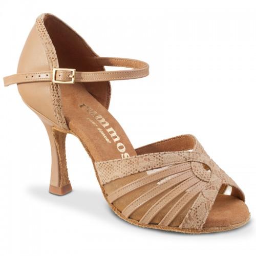"""Chaussures de danse Rummos """"Tatiana"""" cuir nude et cuir tan"""