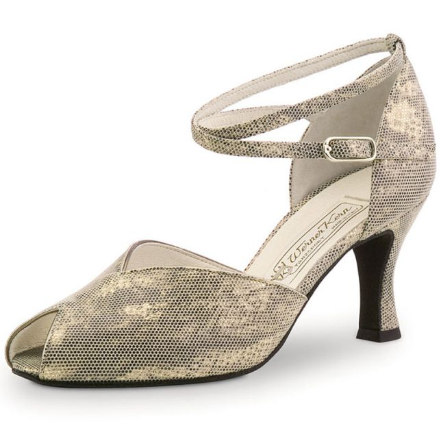 "Chaussures de danse Werner Kern ""Asta"" 6,5 cm cuir requin or antik"