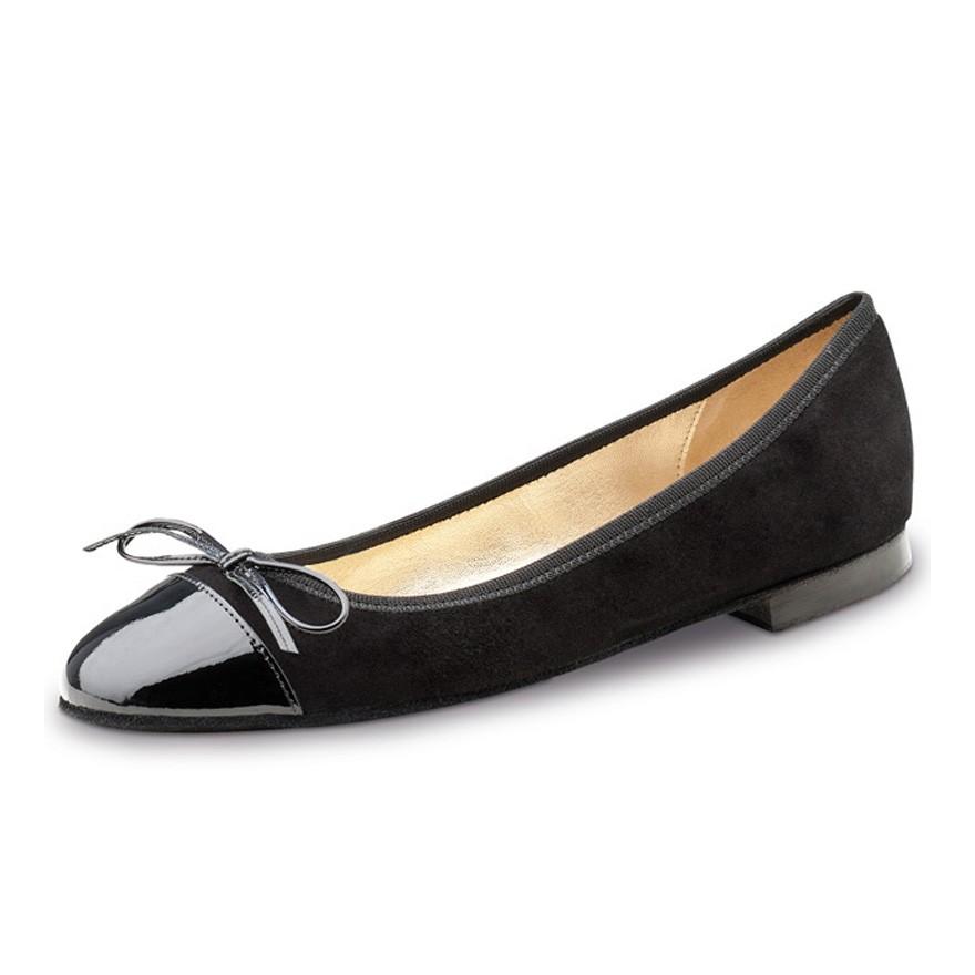 """Chaussures de danse Werner Kern """"Daisy"""" 1 cm cuirnoir vernis et velour noir"""