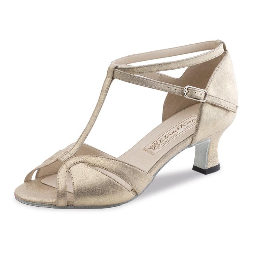 """Chaussures de danse Werner Kern """"Dora"""" 5,5 cm cuir or pour pieds fins"""