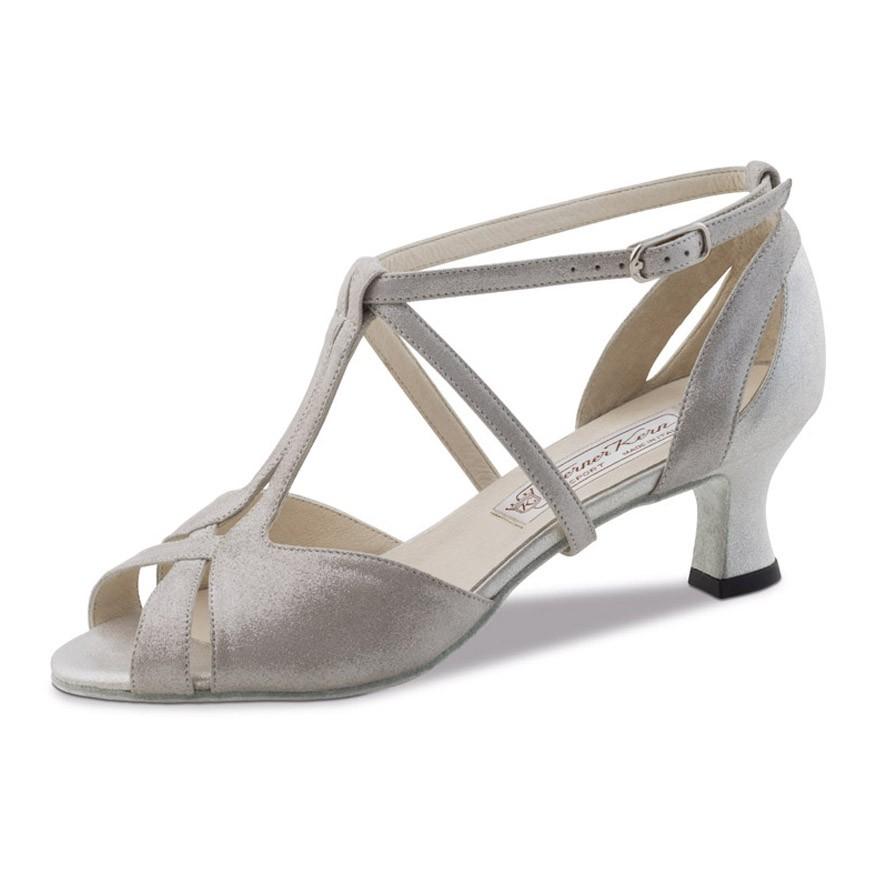 """Chaussures de danse Werner Kern """"Francis"""" 5,5 cm cuir velour argent"""