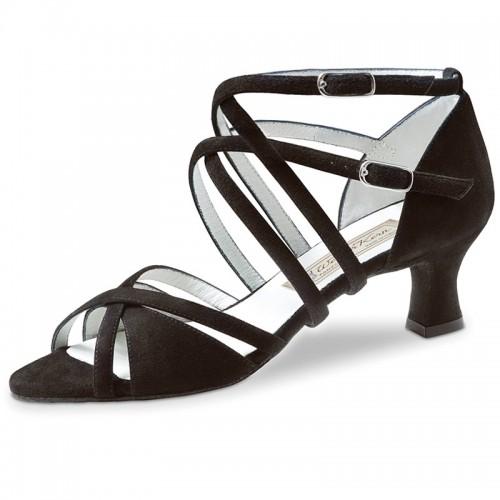 """Chaussures de danse Werner Kern """"Niki"""" 6,5 cm daim noir pour pieds fins"""
