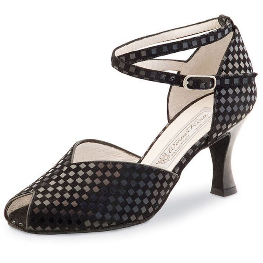 "Chaussures de danse Werner Kern ""Asta"" 6,5 cm daim quadratino noir"