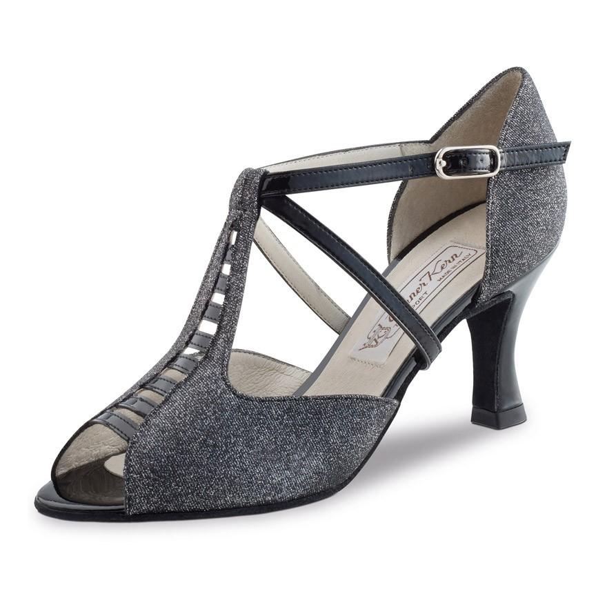 """Chaussures de danse Werner Kern """"Holly"""" 6,5 cm broca noir glitter"""