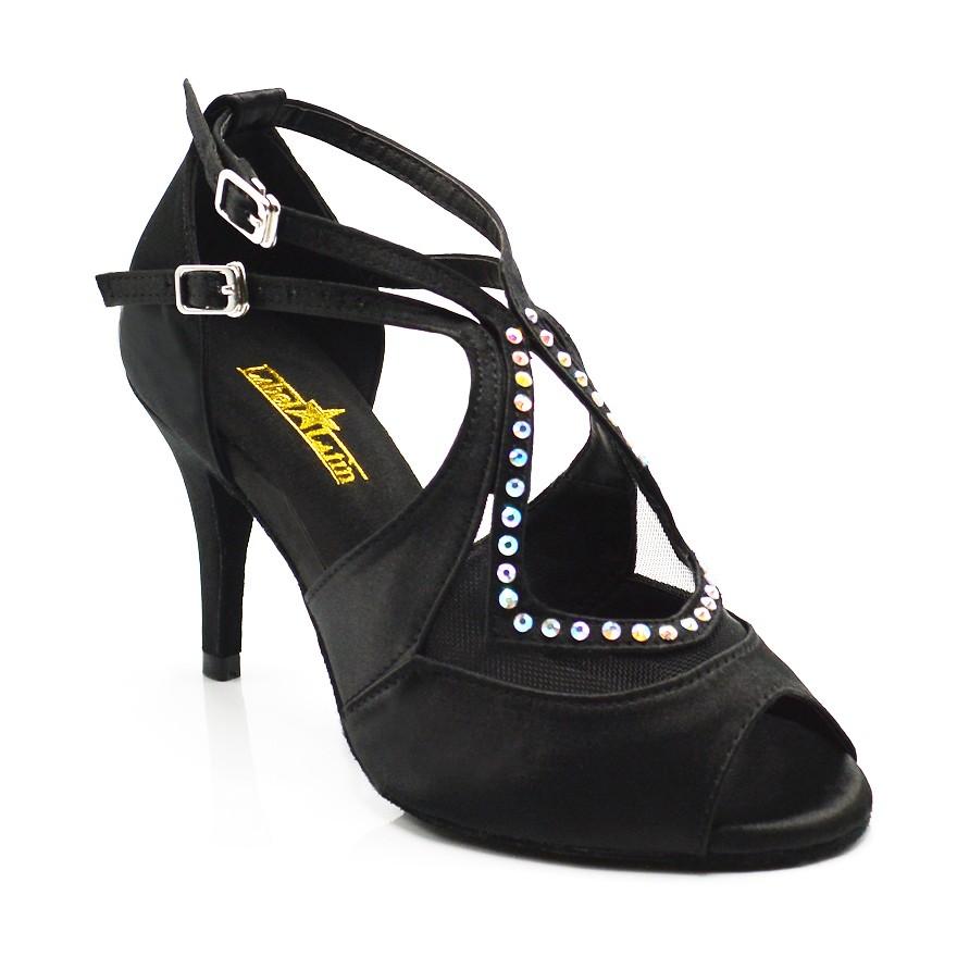 "Chaussures de danse salsa Label Latin ""Lara"" satin noir et strass"