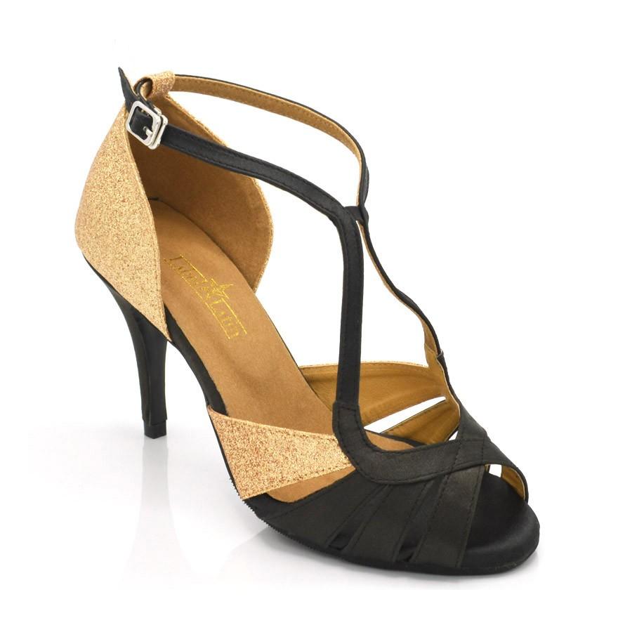 """Chaussures de danse salsa Label Latin """"Lucie"""" satin noir et glitter or"""