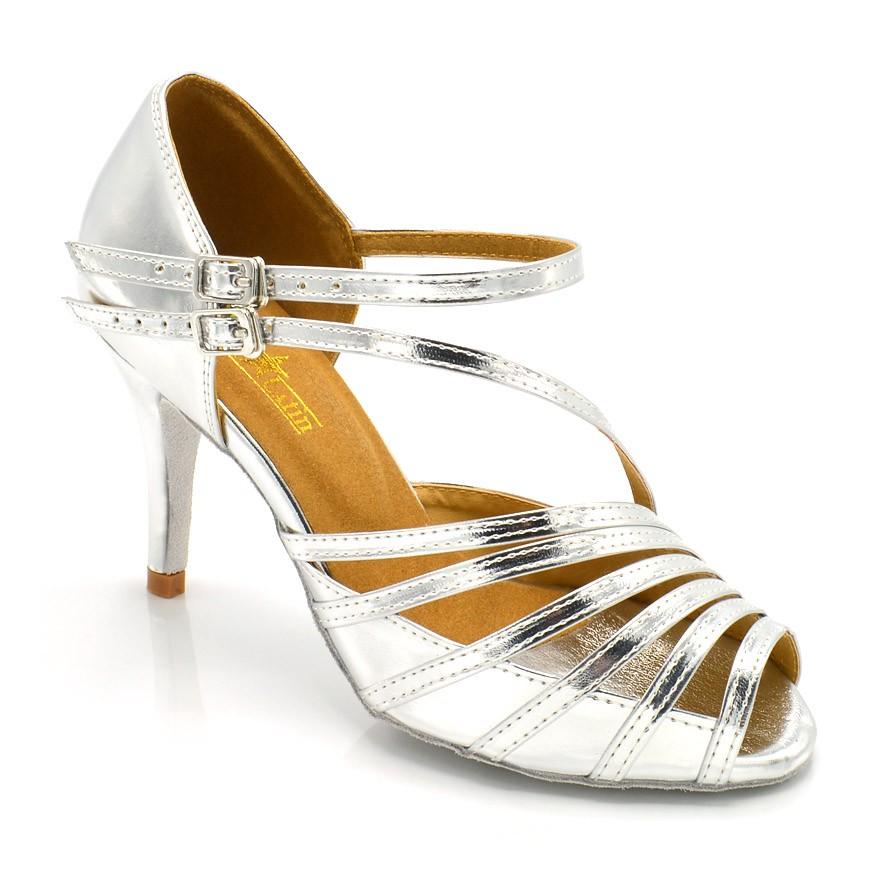 """Chaussures de danse salsa Label Latin """"Mandy"""" simili cuir argent"""