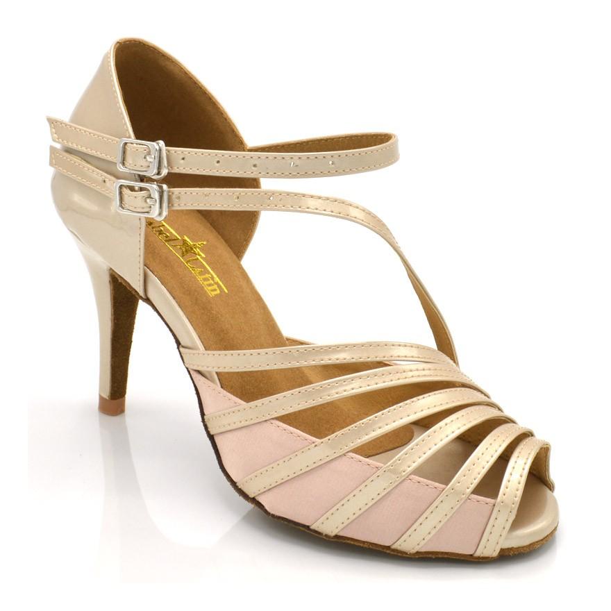 """Chaussures de danse salsa Label Latin """"Mandy"""" satin beige et simili cuir beige"""