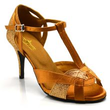 "Chaussures de danse kizomba Label Latin "" Octavia"" Satin tan et glitter or"