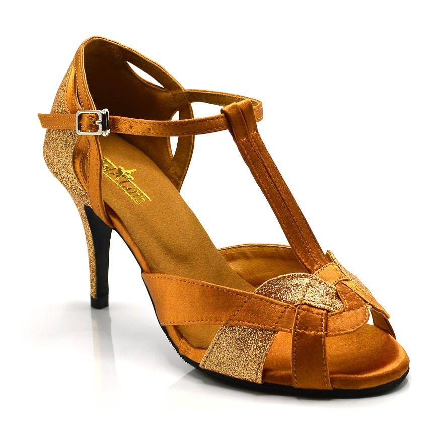 "Chaussures de danse kizomba Label Latin "" Octavia"" Satin tan et glitter or"