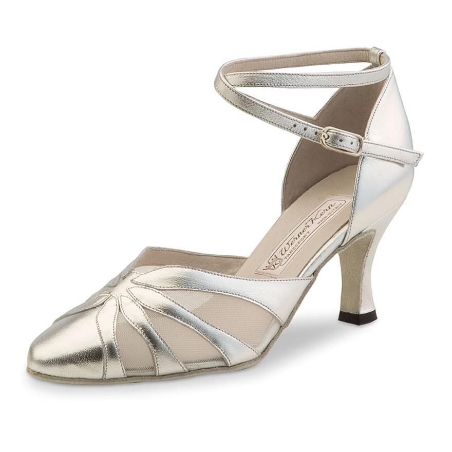 "Chaussures de danse Werner Kern ""Linda"" 6,5 cm cuir argent"