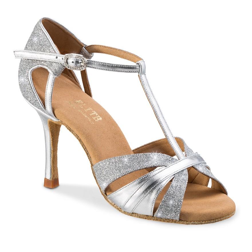 """Chaussures de danse professionnelles Elite Rummos """"Martina"""" Cuir et glitter argent"""