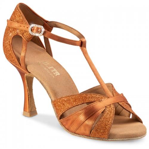"""Chaussures de danse professionnelles Elite Rummos """"Martina"""" satin et glitter tan"""
