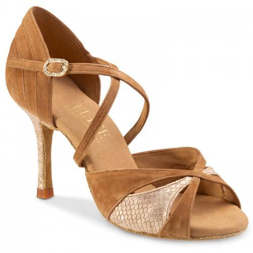 """Chaussures de danse professionnelles Elite Rummos """"Paloma"""" nubuck tan et cuir beige imitation peau de lézard"""