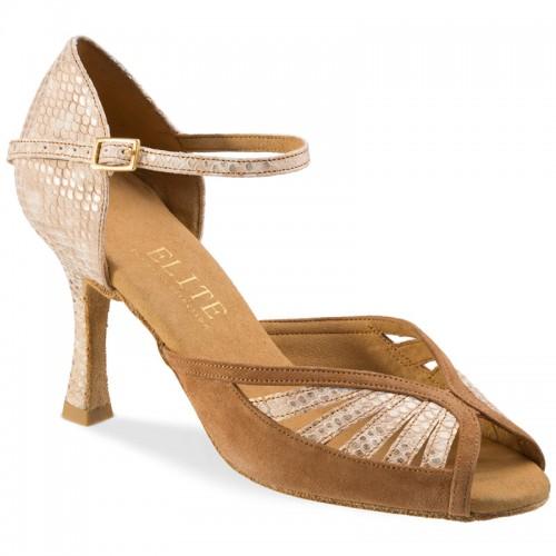 "Chaussures de danse Rummos ""Stella"" nubuck camel et cuir beige imitation peau de lézard"