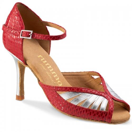 """Chaussures de danse Rummos """"Stella"""" cuir argent et cuir rouge imitation peau de serpent"""