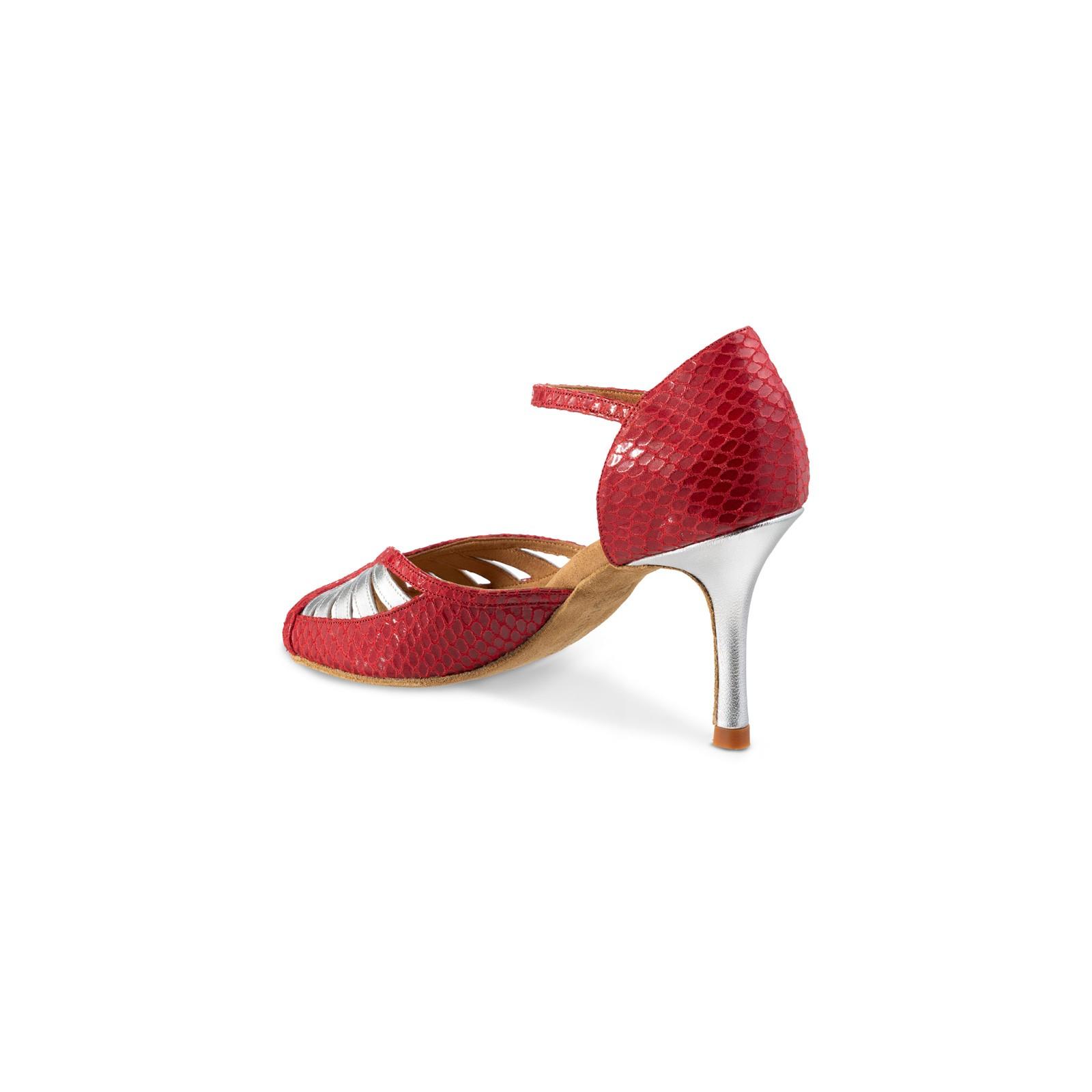 Chaussures de danse Rummos Olivia cuir serpent rouge www
