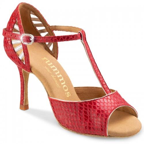 """Chaussures de danse Rummos """"Valentina"""" cuir rouge imlitation peau de serpent et cuir argent"""