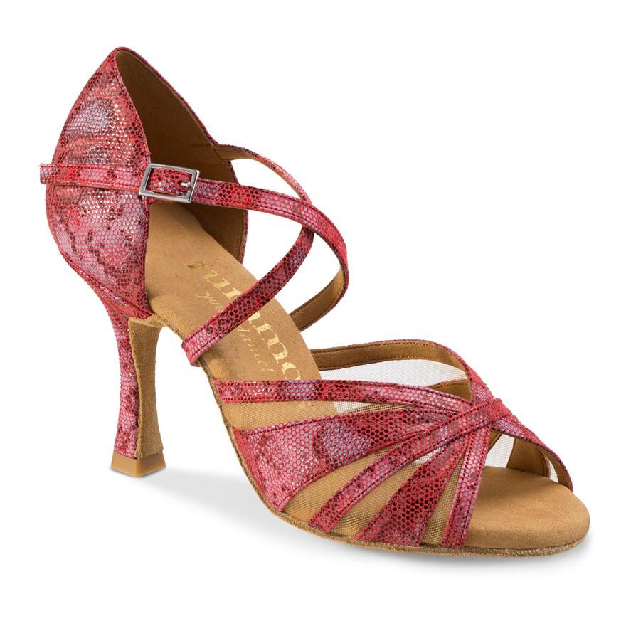 "Chaussures de danse Rummos ""Rina"" cuir rouge imitation peau de lézard"