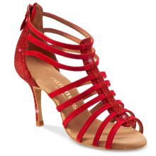 "Chaussures de danse Rummos ""Rica"" nubuck et glitter rouge"