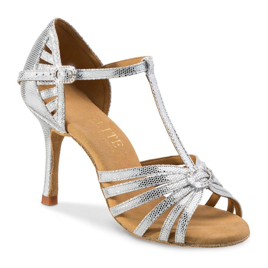"""Chaussures de danseprofessionnelle Elite Rummos """"Karina"""" cuir argent imitation peau de lézard"""